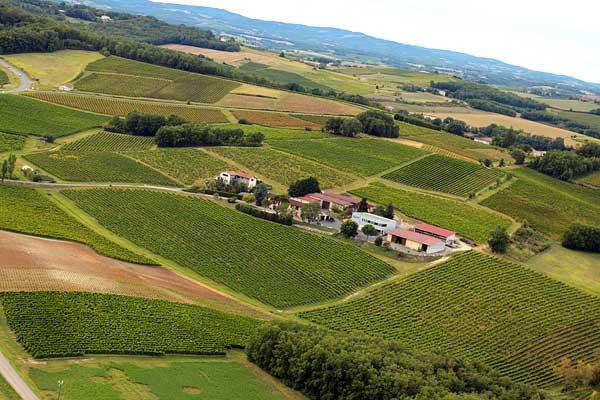 le Domaine Vayssette, vins de Gaillac, vue du ciel dans le Tarn.